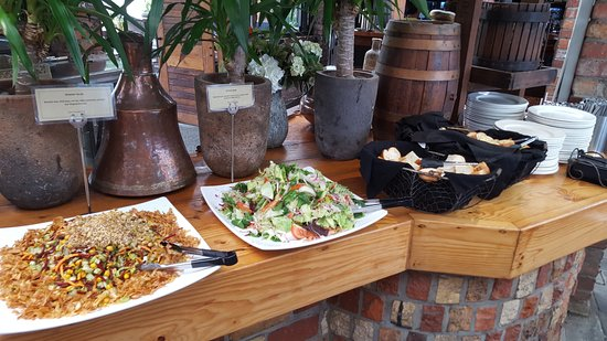 Ohaupo, New Zealand: Salads & bread ready for your plate.