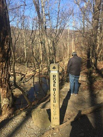 Dark Hollow Falls: End of the falls at the bridge