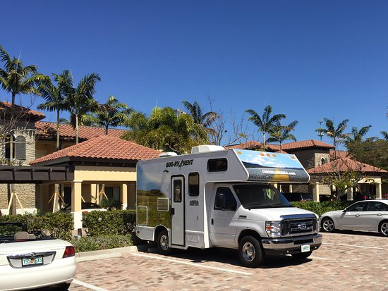 The Cottages at Naples Bay Resort: Motor home in parking lot
