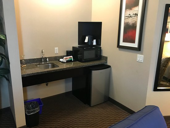 Comfort Suites Kelowna: Honeymoon Suite Fridge and Microwave
