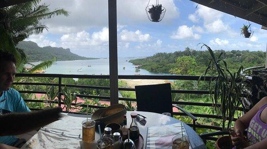 Kolonia, Federated States of Micronesia: Such view 😍 Pohnpei style sashimi ? style sashimi Ice tea