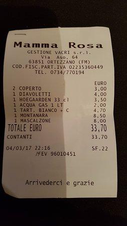 Ortezzano, Italia: ... Conto finale!!!