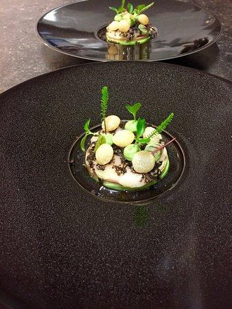 coquilles saint jacques,foie gras en pommes soufflé - Foto van De ...