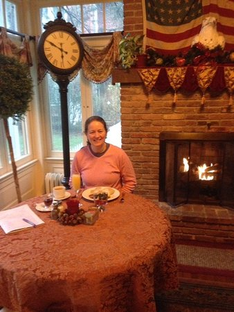 Annville, PA: A working breakfast with cozy fire. Such a great time.