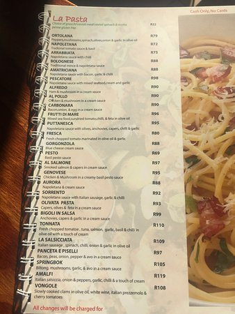 Table View, Sudafrica: The menu & the meaty pizza