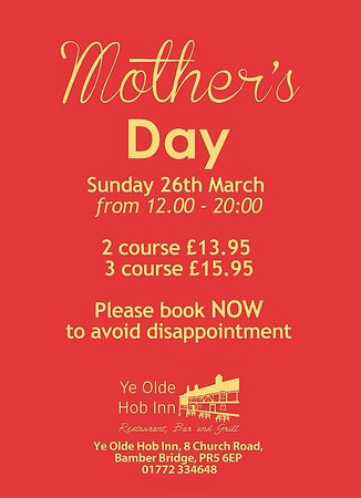 Bamber Bridge, UK: Mothers Day Menu