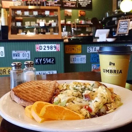 Costello's Travel Caffe: Three-egg scramble with leeks, potatoes, bacon, tomatoes and swiss, topped w/ chives