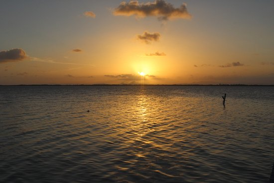 Tobacco Caye, Belize: Sunset from one of the piers on the caye.