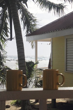Tobacco Caye, Belize: Coffee on the deck. What a great way to wake up!