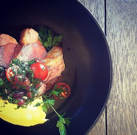 Hartley, Australia: Local lamb rump w/ cheddar mash & sauce vierge