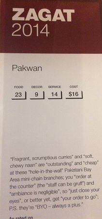 Pakwan Restaurant Zagat Rating