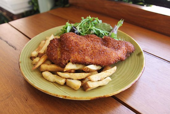 Chicken Schnitzel With Chips Salad Picture Of The Dog Hotel Randwick Tripadvisor