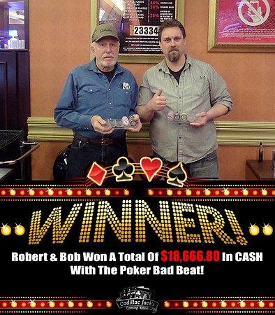 Cadillac Jack's Gaming Resort: Poker Bad Beat winners!