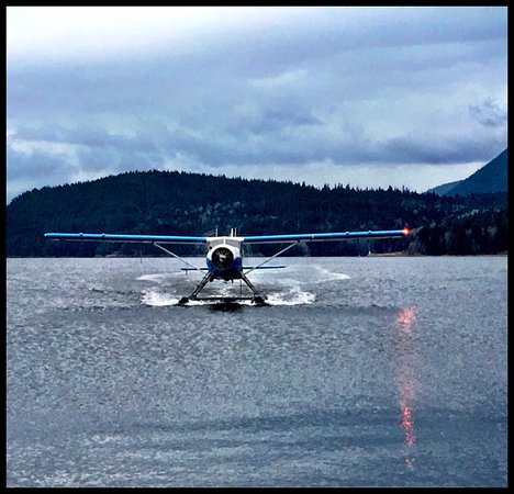 Sechelt, Canadá: Precious cargo flying in from Nanaimo with attentive pilot Josh.