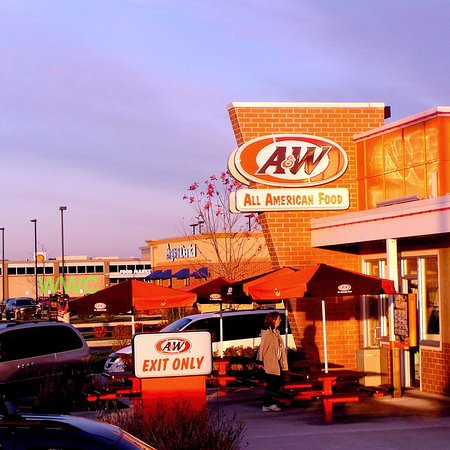 Manitowoc, WI: Glowing A&W...Golden autumnal sunset