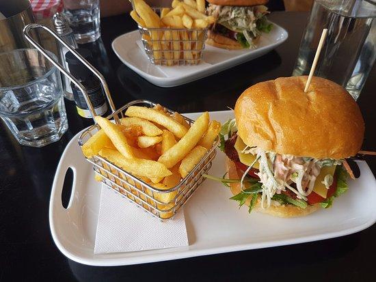 Belmont, Australia: Chicken Snitzel Burger with Chips
