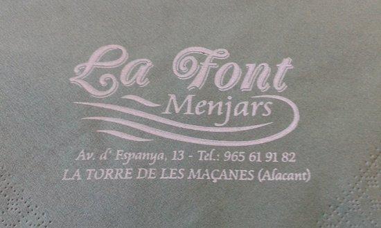 Torremanzanas, Spain: Logotipo del restaurante, direccion y telefono