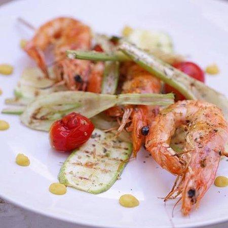 Агиос-Прокопиос, Греция: Fresh grilled prawns at Stelida Restaurant