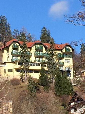 Hotel Triglav Bled: Hotel looking up from boat area by lake