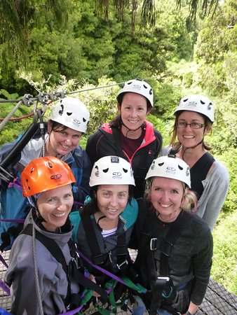 Rotorua Canopy Tours: A few nerves showing before Zipping off the platform