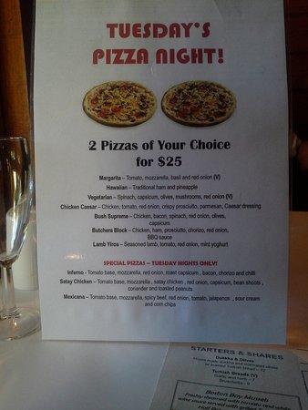 Willunga, Australia: Pizza night menu