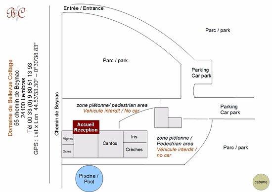 Domaine de Bellevue Cottage - chambre d'hôtes bnb, cabane dans les arbres, gite à Bergerac: plan de la propriété