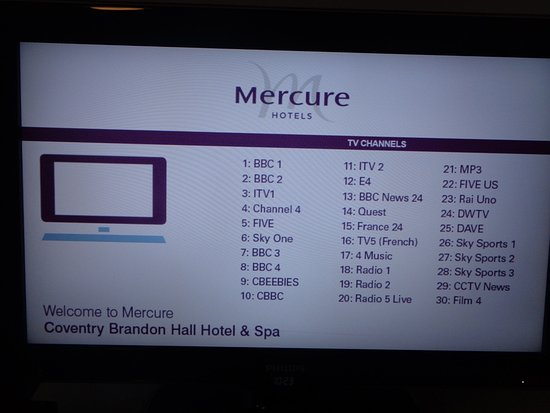 TV CHANNELS - Picture of Mercure Brandon Hall Hotel and Spa