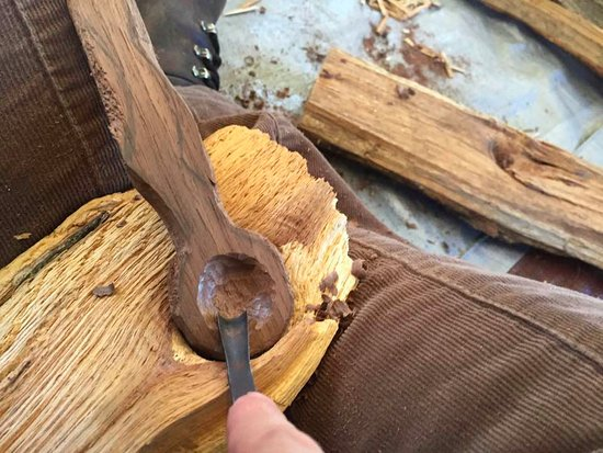 Hedgesville, WV: Carving a spoon safely. The spoon is walnut wood from the property.