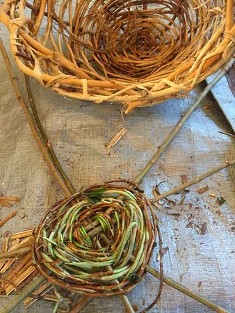 Hedgesville, Virgínia Ocidental: The beginning of my basket made from honeysuckle and willow.