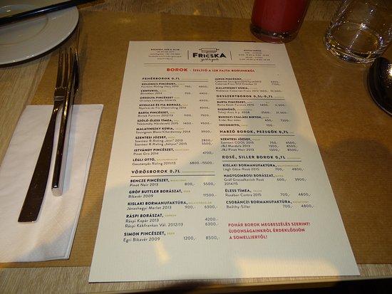 Fricska Gastropub: étlap