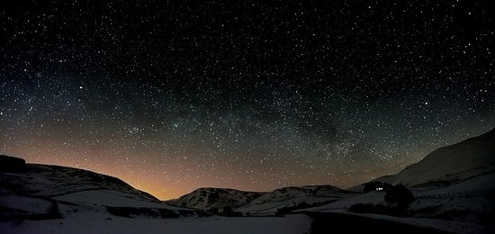 The unspoiled night sky In Barrowburn in the Northumberland National Park.