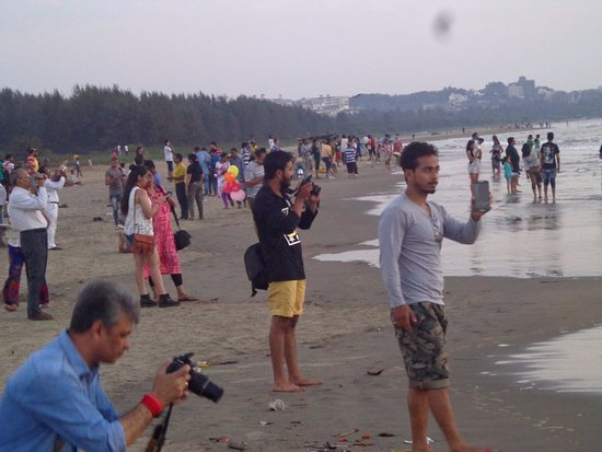 Clicking Sunset At Miramar Beach Panjim Goa Picture Of