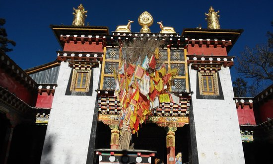 Shangri-La County, China: Ringha Dabao temple, entrance to main hall