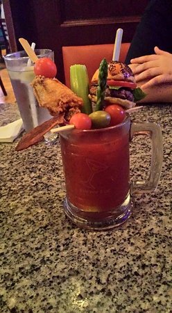 Burger Bar : Bloody Mary with burger, wings, and bacon!