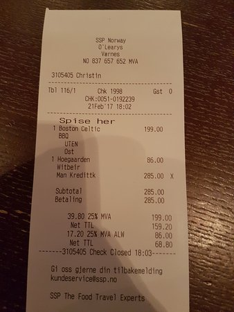 Stjordal, Norwegia: The receipt