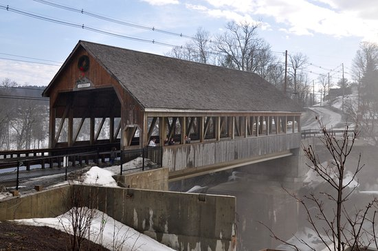 Quechee Covered Bridge From Simon Pearce Mill Side of Bridge