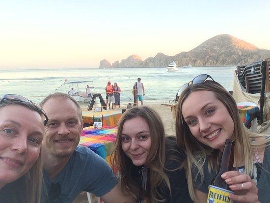 Bahia Hotel & Beach House: Enjoying tacos and a bucket of beer on Medano Beach-1 block from the Bahia