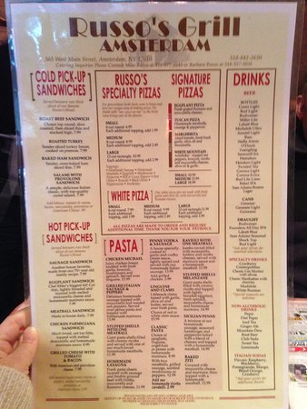 Amsterdam, NY: Other side of menu