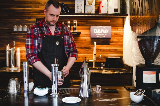 Newberg, OR: We offer espresso drinks, pour overs, and cold brewed coffee in our tasting room.