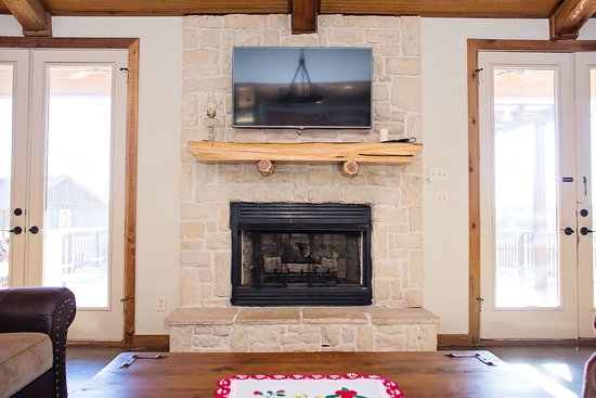 Gas Fireplace With French Door Access To Rear Deck Picture Of