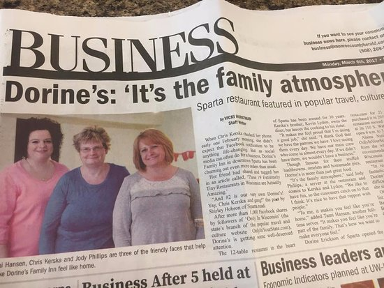 Sparta, WI: We made the paper!