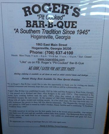 Hogansville, GA: Roger's Pit Cooked Bar-B-Que