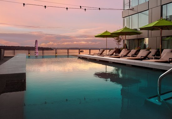 Sunset at Four Seasons Hotel Seattle Pool