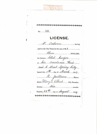 "Spring City, UT: 1899 Business License of W. Osborne to operate ""hotel"""