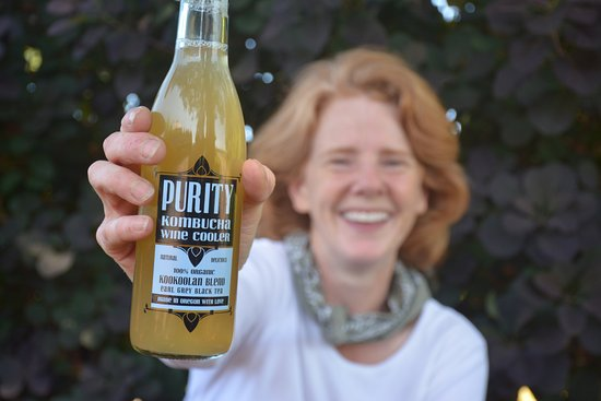 "Yamhill, OR: Chrissie hand-makes each batch of ""Purity"" kombucha"