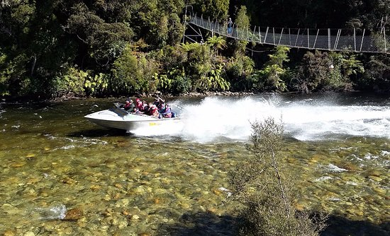 Tuatapere, Yeni Zelanda: Jet boat coming down the river very near Waitutu Lodge and nearby swing bridge