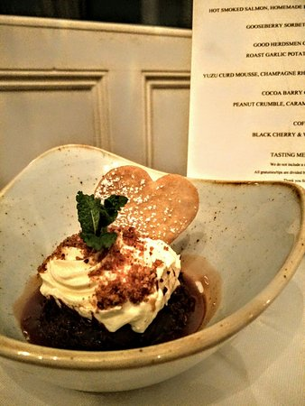 Tipperary, أيرلندا: The Old Convent 8 course tasting menu - Chocolate pudding with Peanut Crumble and caramel