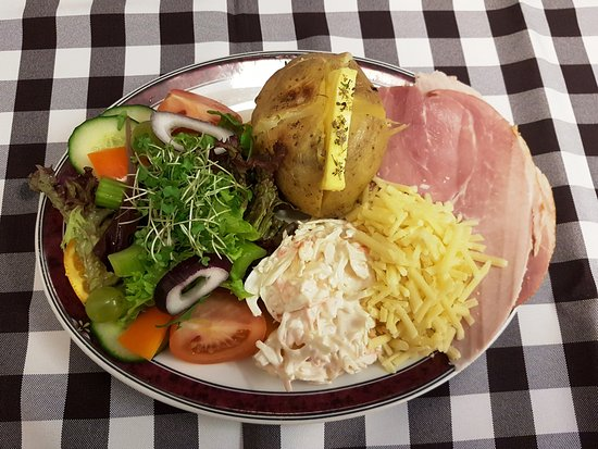 The Old Bakery Tearoom: Jacket potato with cheese and ham
