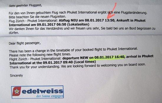 Edelweiss Air: Flugzeitänderung