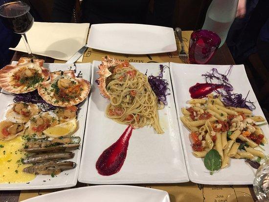 Trattoria Al Gazzettino: Spider crab pasta and assorted seafood appetiser